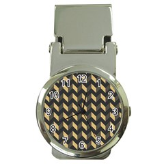 Tan Gray Modern Retro Chevron Patchwork Pattern Money Clip With Watch by creativemom