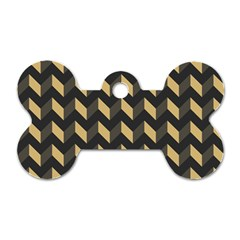 Tan Gray Modern Retro Chevron Patchwork Pattern Dog Tag Bone (two Sided) by creativemom