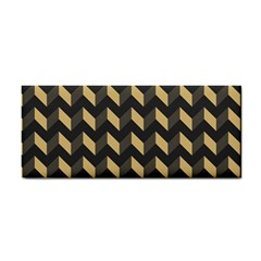 Tan Gray Modern Retro Chevron Patchwork Pattern Hand Towel by creativemom