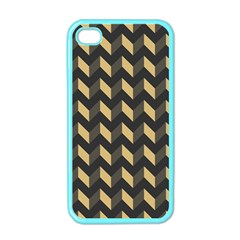 Tan Gray Modern Retro Chevron Patchwork Pattern Apple Iphone 4 Case (color) by creativemom