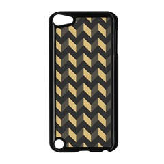 Tan Gray Modern Retro Chevron Patchwork Pattern Apple Ipod Touch 5 Case (black) by creativemom