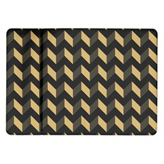 Tan Gray Modern Retro Chevron Patchwork Pattern Samsung Galaxy Tab 10 1  P7500 Flip Case by creativemom
