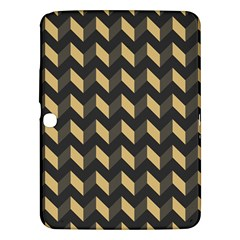 Tan Gray Modern Retro Chevron Patchwork Pattern Samsung Galaxy Tab 3 (10.1 ) P5200 Hardshell Case  by creativemom