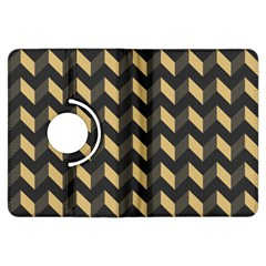 Tan Gray Modern Retro Chevron Patchwork Pattern Kindle Fire Hdx Flip 360 Case by creativemom