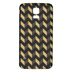 Tan Gray Modern Retro Chevron Patchwork Pattern Samsung Galaxy S5 Back Case (white) by creativemom