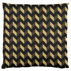Tan Gray Modern Retro Chevron Patchwork Pattern Large Flano Cushion Case (two Sides)
