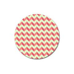 Mint Pink Modern Retro Chevron Patchwork Pattern Magnet 3  (round) by creativemom