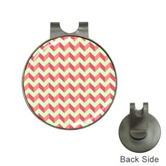 Mint Pink Modern Retro Chevron Patchwork Pattern Hat Clip With Golf Ball Marker by creativemom