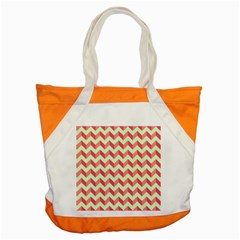 Mint Pink Modern Retro Chevron Patchwork Pattern Accent Tote Bag by creativemom