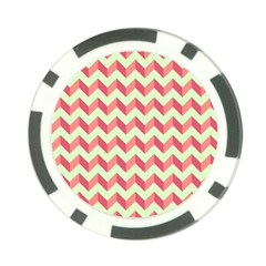 Mint Pink Modern Retro Chevron Patchwork Pattern Poker Chip by creativemom