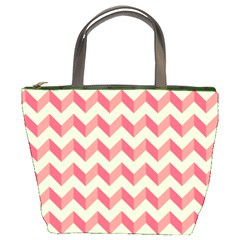 Mint Pink Modern Retro Chevron Patchwork Pattern Bucket Handbag by creativemom