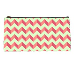 Mint Pink Modern Retro Chevron Patchwork Pattern Pencil Case