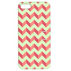 Mint Pink Modern Retro Chevron Patchwork Pattern Apple Iphone 5 Hardshell Case With Stand by creativemom