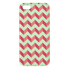 Mint Pink Modern Retro Chevron Patchwork Pattern Apple Iphone 5 Premium Hardshell Case by creativemom