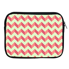Mint Pink Modern Retro Chevron Patchwork Pattern Apple Ipad Zippered Sleeve by creativemom