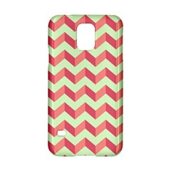 Mint Pink Modern Retro Chevron Patchwork Pattern Samsung Galaxy S5 Hardshell Case  by creativemom