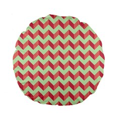 Mint Pink Modern Retro Chevron Patchwork Pattern 15  Premium Flano Round Cushion  by creativemom