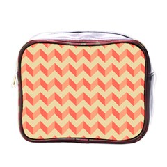 Modern Retro Chevron Patchwork Pattern Mini Travel Toiletry Bag (one Side) by creativemom