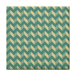 Mint Modern Retro Chevron Patchwork Pattern Ceramic Tile by creativemom