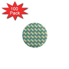 Mint Modern Retro Chevron Patchwork Pattern 1  Mini Button Magnet (100 Pack) by creativemom
