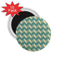 Mint Modern Retro Chevron Patchwork Pattern 2 25  Button Magnet (10 Pack) by creativemom