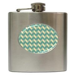 Mint Modern Retro Chevron Patchwork Pattern Hip Flask by creativemom