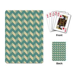 Mint Modern Retro Chevron Patchwork Pattern Playing Cards Single Design by creativemom