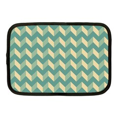 Mint Modern Retro Chevron Patchwork Pattern Netbook Sleeve (medium) by creativemom