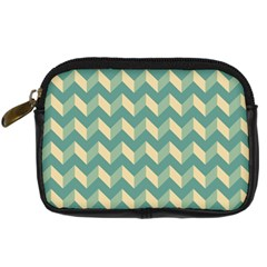 Mint Modern Retro Chevron Patchwork Pattern Digital Camera Leather Case by creativemom