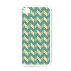 Mint Modern Retro Chevron Patchwork Pattern Apple Iphone 4 Case (white) by creativemom