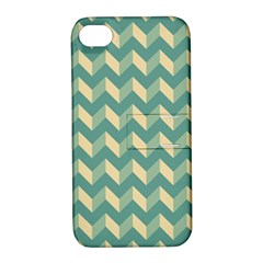 Mint Modern Retro Chevron Patchwork Pattern Apple Iphone 4/4s Hardshell Case With Stand by creativemom