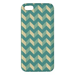 Mint Modern Retro Chevron Patchwork Pattern Iphone 5s Premium Hardshell Case by creativemom