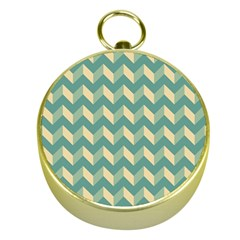 Mint Modern Retro Chevron Patchwork Pattern Gold Compass by creativemom