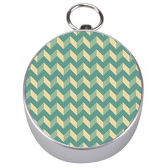 Mint Modern Retro Chevron Patchwork Pattern Silver Compass by creativemom