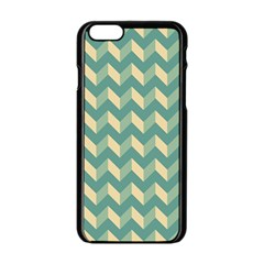 Mint Modern Retro Chevron Patchwork Pattern Apple Iphone 6 Black Enamel Case by creativemom