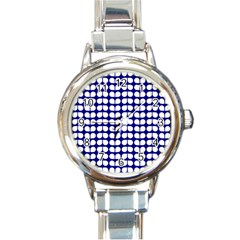 Blue And White Leaf Pattern Round Italian Charm Watch by creativemom