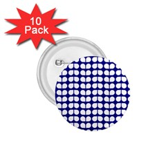 Blue And White Leaf Pattern 1 75  Button (10 Pack) by creativemom