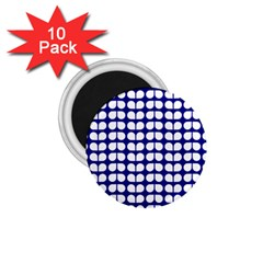 Blue And White Leaf Pattern 1 75  Button Magnet (10 Pack) by creativemom