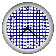 Blue And White Leaf Pattern Wall Clock (silver) by creativemom