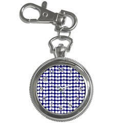 Blue And White Leaf Pattern Key Chain Watch by creativemom