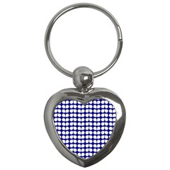 Blue And White Leaf Pattern Key Chain (heart) by creativemom