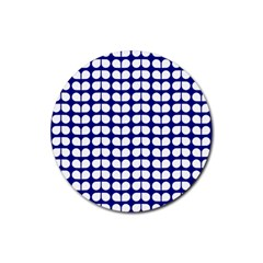 Blue And White Leaf Pattern Drink Coasters 4 Pack (round) by creativemom