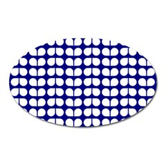 Blue And White Leaf Pattern Magnet (oval) by creativemom