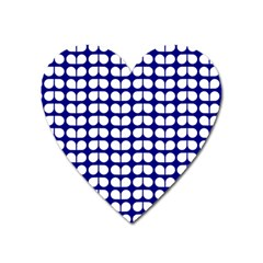 Blue And White Leaf Pattern Magnet (heart) by creativemom