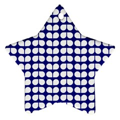 Blue And White Leaf Pattern Star Ornament (two Sides) by creativemom