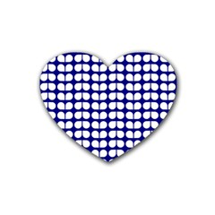 Blue And White Leaf Pattern Drink Coasters (heart) by creativemom