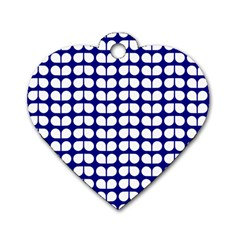Blue And White Leaf Pattern Dog Tag Heart (one Sided)  by creativemom