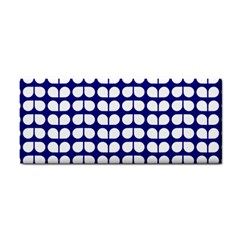 Blue And White Leaf Pattern Hand Towel by creativemom