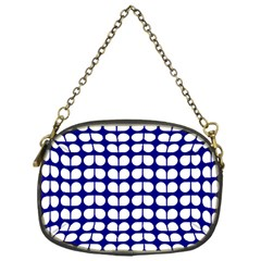 Blue And White Leaf Pattern Chain Purse (one Side) by creativemom