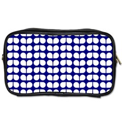 Blue And White Leaf Pattern Travel Toiletry Bag (one Side) by creativemom